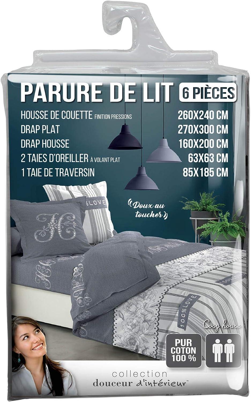 douceur dint/érieur parure couette 6 pi/èces 240x220 cm cosy house