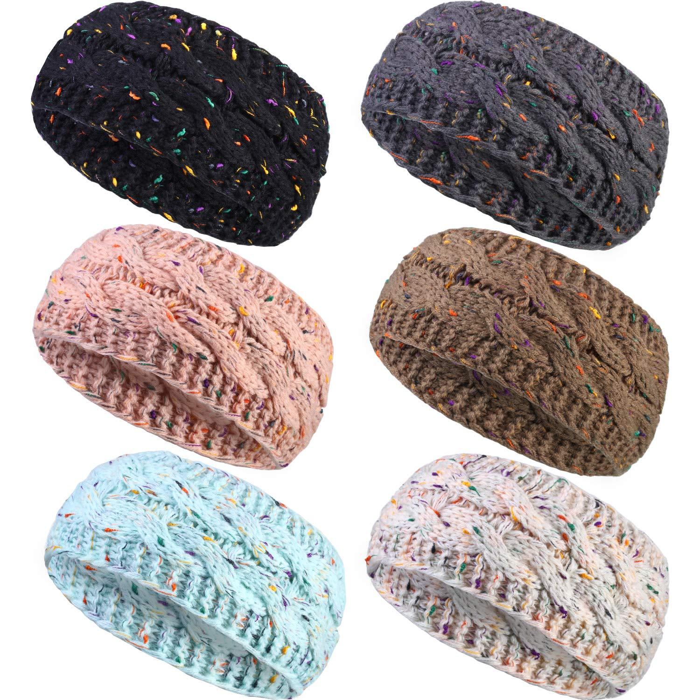 6 Pieces Winter Headband Ear Warmer Warm Cable Knitted Thick Head Wrap for Women Girls Gift (Black, Beige, Pink, Light Blue, Khaki, Dark Gray)