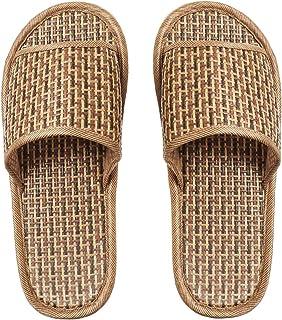FENICAL Zapatilla de bambú Ligera Zapatillas de Paja Zapatillas de casa de Punta Abierta para Hombres y Mujeres Baño de SPA Verano Zapatillas cómodas y Frescas 42/43