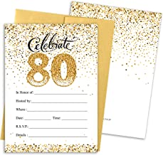 White and Gold 80th Birthday Party Invitations - 10 Cards with Envelopes