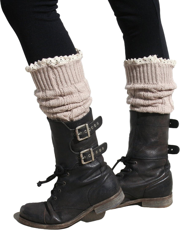 Blue 55 Assorted Classic Thick Knit Crochet Long Leg Warmers Boot Socks