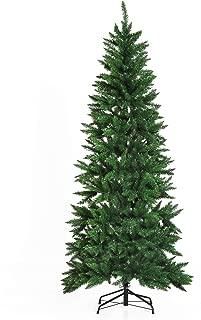 HOMCOM 7' PVC Hinged Unlit Artificial Christmas Tree - Green