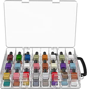 Diggs Nail Polish Organizer - Adjustable Dividers Polish Holder Carry Case with Handle - Securely Store and Take Your Cosmetics Anywhere - Space Saving Clear Organizers for Storage