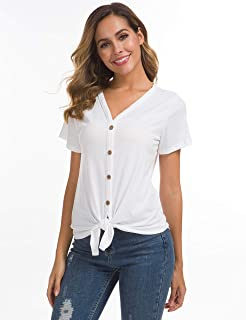 d3e50ed1ad043f Women's Tie Knot Button Down Shirts Sleeveless Casual Blouse Curved Hemline  Tops S-XXL