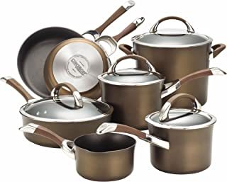 Circulon 82765 Symmetry Dishwasher Safe Hard Anodized Nonstick Cookware Pots and Pans Set, 11-Piece, Chocolate