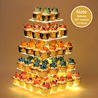YestBuy Cupcake Stand - Premium Cupcake Holder - Acrylic Cupcake Tower Display - Cady Bar Party Décor - 5 Tier Acrylic Display for Pastry + LED Light String - Ideal for Weddings, Birthday Parties