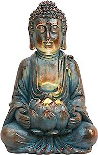 TERESA'S COLLECTIONS 32cm Bouddha Figurine Jardin Lumière Solaire Petit Résine Assis Statue De Bouddha Statue De Jardin An...