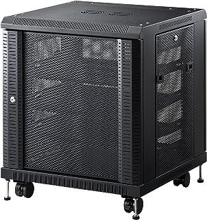 サンワダイレクト ルーター・NAS・ハブ収納ボックス ネットワーク機器収納 メッシュパネル 鍵付き 高さ700mm 100-SV013