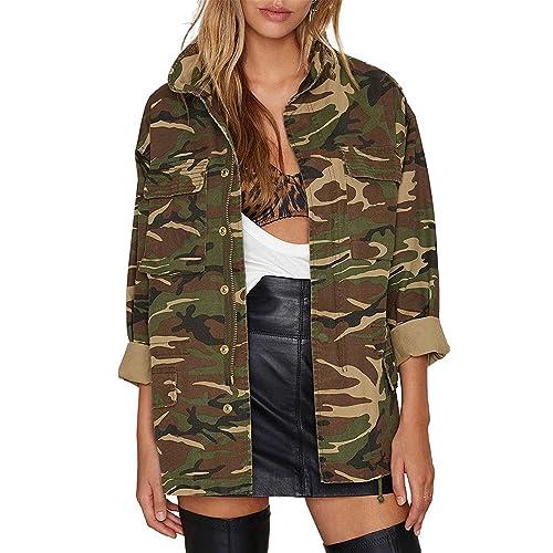 bc2bf89218c64 HAOYIHUI Women's Lightweight Long Sleeve Military Jacket Coat