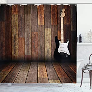 Ambesonne Popstar Party Shower Curtain, Electric Guitar in The Wooden Room Country House Interior Music Theme, Cloth Fabric Bathroom Decor Set with Hooks, 70