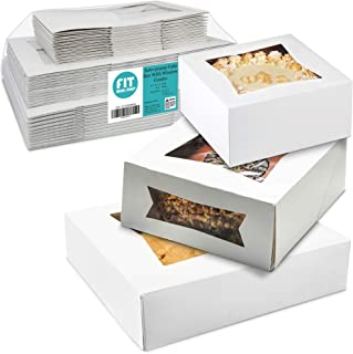 """[36 Pack] Bakery Box with Window 6"""", 8"""" and 10"""" - White Cardboard Gift Packaging for Cake, Pie, Cupcake, Cookies and Pastry, Auto-Pop Restaurant Containers and Personalized Favors, 12 of Each"""