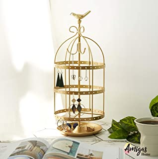 """AmigasHome 14.5"""" Tall Cute Bird Cage Inspired Heavy Metal Made Swivel Jewelry Showcase Display Bracelet Necklace Earring Organizer - Gold"""