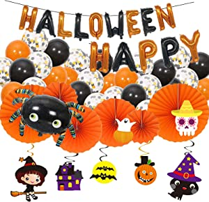 Halloween Decor Garland Kits HAPPY HALLOWEEN Banners Orange Confetti Black Foil Balloons, Hanging Ceiling Paper Fans Flowers Swirls Cake Cup Toppers, Party Decoration Home Kitchen Indoor