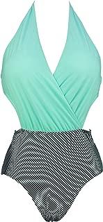 Women's Surplice Neckline One Piece Bather Halter Swimsuit High Waist Cross Swimwear(FBA)