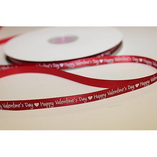 "Bersifords 15mm Ivory /& Red /""All My Love/"" Ribbon Valentines Birthday Hearts"