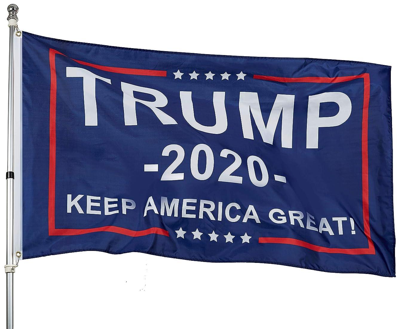flyingflag 3x5 Feet Donald Trump Flag - Trump 2020 Keep America Great! - Make America Great Again - Indoors Outdoors Banner (Blue Second)
