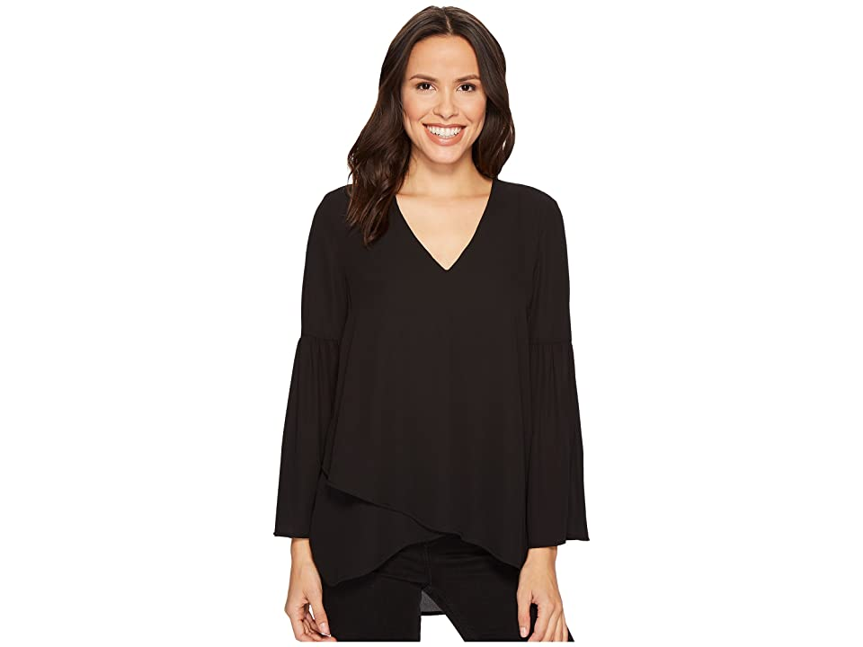 Karen Kane Crossover Bell Sleeve Top (Black) Women