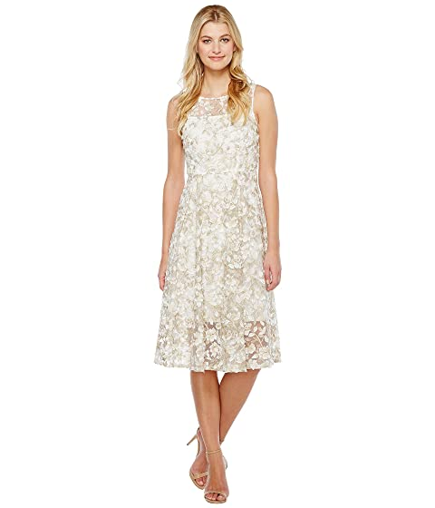 Adrianna Papell Liliana 3d Metallic Lace Midi Fit And