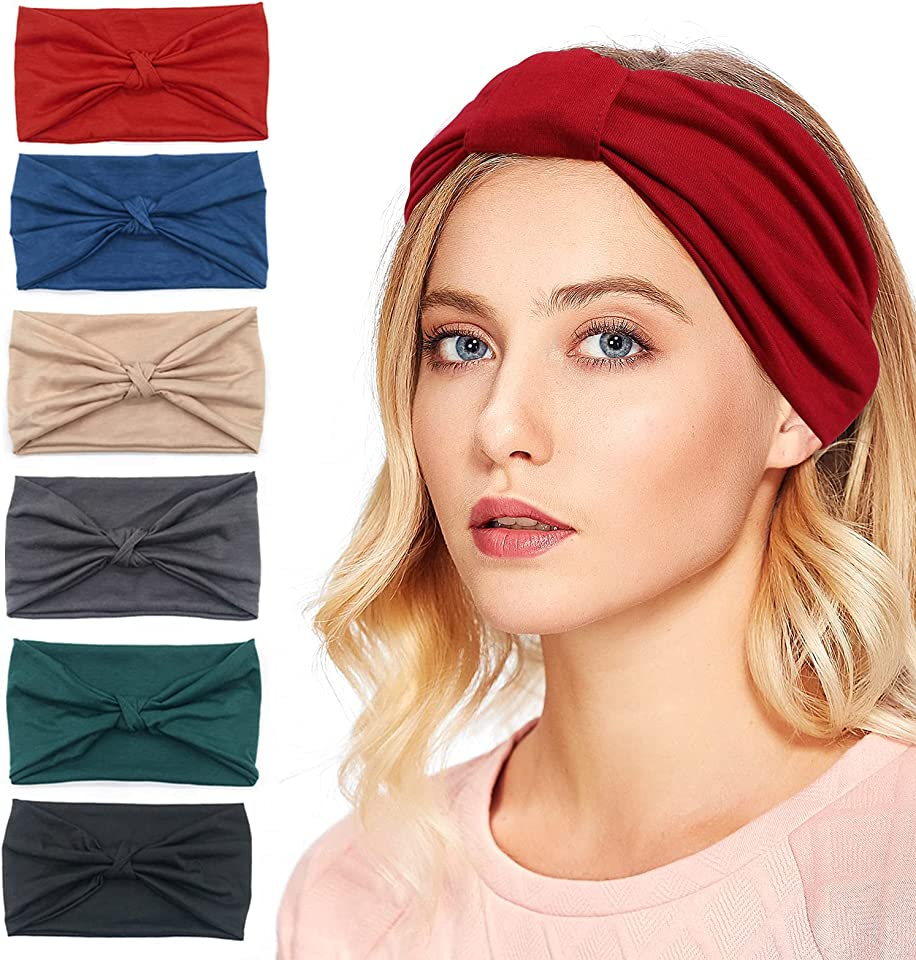 Wide Headbands for Women Yoga Hairband Sport Running Elastic Turban Head bands Vintage Stylish Soft Head Scarfs Knotted Head Wraps for Women and Girls(Pack of 6)
