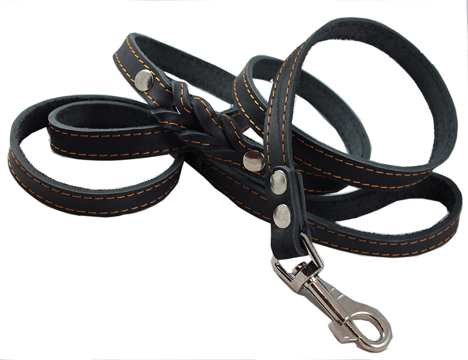 6' Genuine Leather Braided Dog Leash Black 3 4  Wide for Largest Breeds