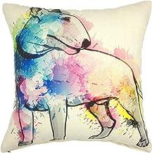 YOUR SMILE Bull Terrier Cotton Linen Square Decorative Throw Pillow Case Cushion Cover 18x18 Inch(44CM44CM) (Color#207)