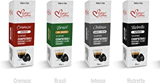Espresso capsules compatible with Starbucks Verismo, CBTL, Caffitaly, K-fee systems, Italian Coffee pods (Sampler, 4 flavors, 40 pods tot., No decaf)
