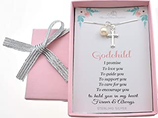 """Girl's Cross Necklace in Sterling silver on a 14"""" sterling silver Box chain. Baby girl gift. Baptism gift for baby girl. Baby shower. Godchild. M3M100"""