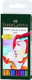Faber-Castell Pitt Artist Basic Color Pen Set - Pack of 6