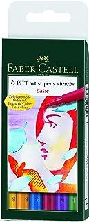 Faber-Castel PITT Artist Brush Pens, Basic, 6-Pack