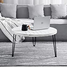 طاولة قهوة دائرية من ويللاند، طاولة خشبية 76.2 سم، طاولة قهوة حديثة مع أرجل معدنية، أبيض مغسول، طاولة قهوة غير لامعة مع تص...