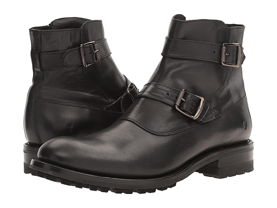 Frye Stanton Moto (Black Tumbled Full Grain) Men
