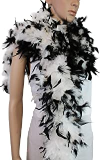 80 Gram, 2 Yards Long Chandelle Feather Boa 10 Color, Great for Party, Wedding, Halloween Costume, Christmas Tree Decoration (White w/Black Tips)