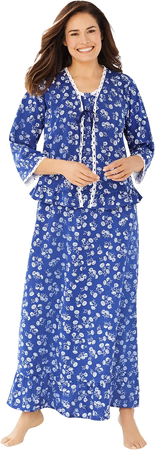 Dreams & Co. Women's Plus Size 2-Piece Nightgown And Bed Jacket Set