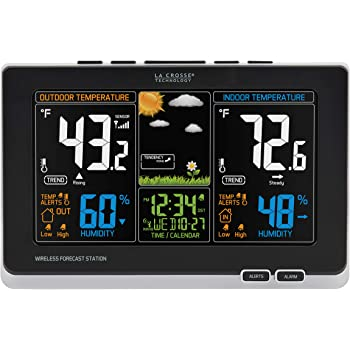 La Crosse Technology 308-1414B-INT, Black 308-1414B Wireless Atomic Digital Color Forecast Station with Alerts