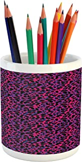 Ambesonne Jungle Pencil Pen Holder, 80s Style Vintage Leopard Skin Radiant Colors Tiger Safari, Printed Ceramic Pencil Pen Holder for Desk Office Accessory, Royal Blue Hot Pink Black