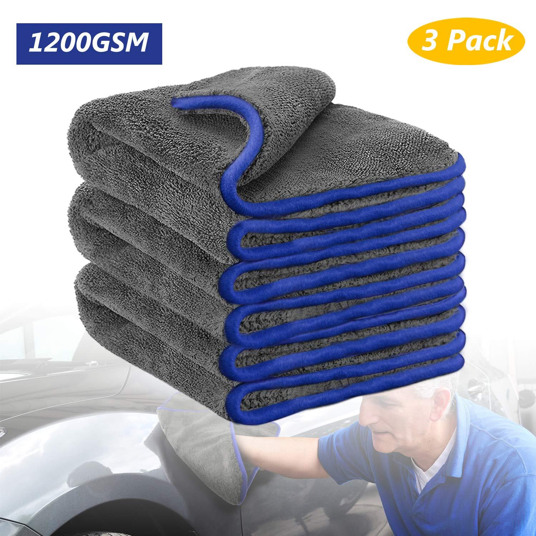 1 Fixget Car Cleaning Cloths 3Pcs Microfiber Cleaning Cloths Microfiber Super Absorbent Double-layer Auto Towel Cloth Car Polishing and Drying Cloth