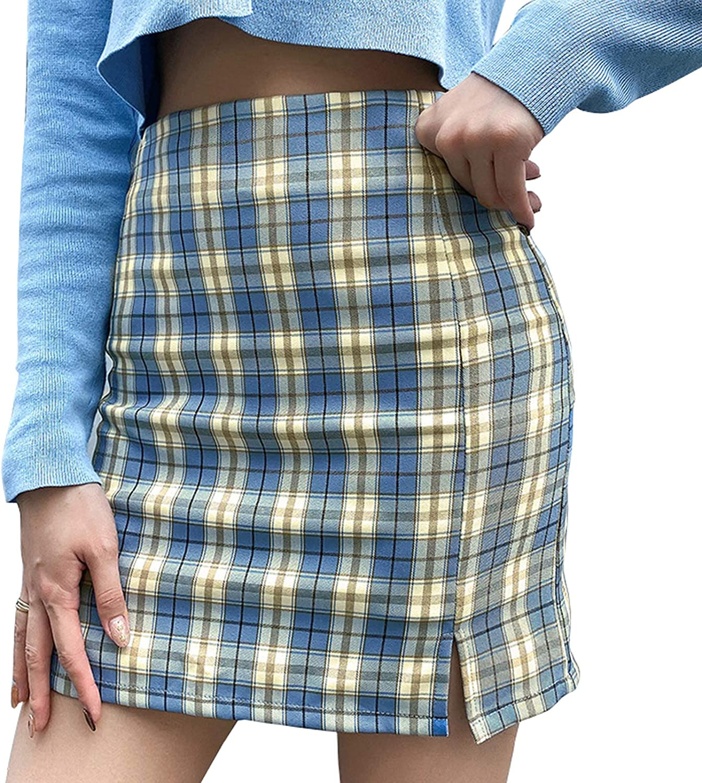 Women's Casual Mini Skirt Plaid Bodycon A-Line High Waist Short Skirt