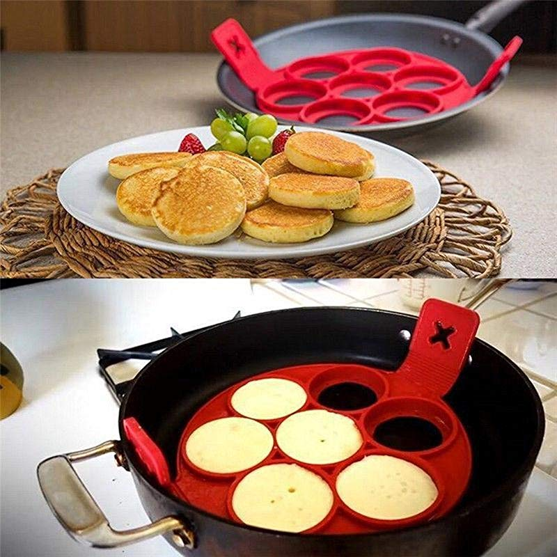 Pancake Maker Nonstick Cooking Tool Egg Ring Maker Pancakes Cheese Egg Cooker Pan Flip Eggs Mold Kitchen Baking Accessories Easy To Pick Up And Can Still Be Flipped Over