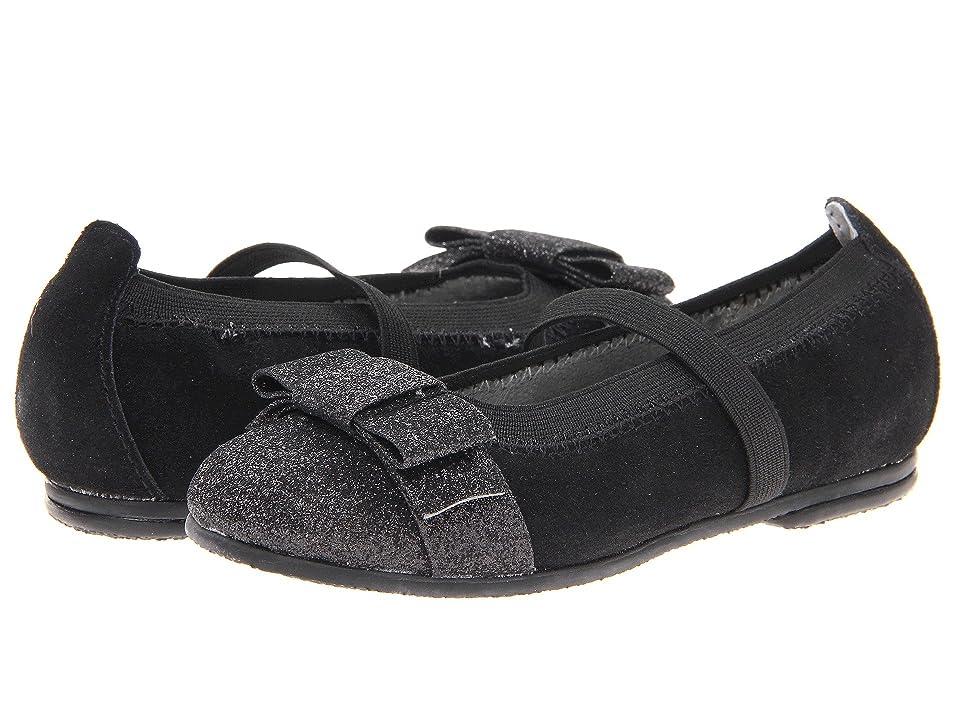 Jumping Jacks Kids Balleto Sparkle (Toddler/Little Kid/Big Kid) (Black Suede) Girls Shoes