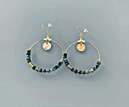 Orecchini creoli bohémien con francobolli e perle, gioielli da donna, creoli d'oro, gioielli in oro, gioielli regalo, rega...