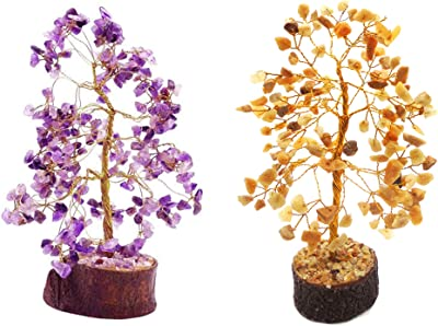 eshoppee vastu/feng Shui Amethyst Stone Tree and Yellow Aventurine Stone Tree for Peace of Mind and Happiness