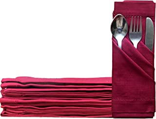 KALAR Set of 12 Cotton Dinner Napkin Maroon, 100% Natural Cotton Linen Absorbent Table Cloth Napkins, Reusable 46 x 46 cm