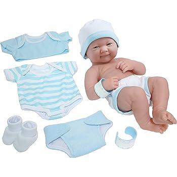 "La Newborn Nursery 8 Piece Layette Baby Doll Gift Set, featuring 14"" Life-Like Smiling Newborn Doll, Blue"