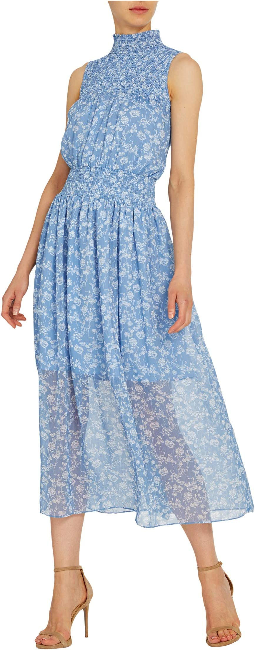 ml monique lhuillier. Sleeveless Floral Printed Midi Dress w/ Smocking