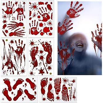 Zerhok Halloween Aufkleber Realistisch Sticker Blutige Handabdrucken Fussabdrucken Horror Deko Fur Halloweenparty Fenster Spiegel Badewanne Spukhaus Dekoration 6 Paket Amazon De Kuche Haushalt