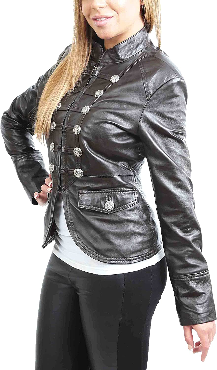 A1 FASHION GOODS Womens Leather Casual Jacket Military Punk Style Brown Coat Aria