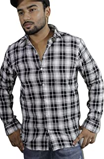 Spanish One Look Mens Long Sleeve 100% Cotton Regular Fit Button Down Casual Shirts Dress in Multi Color Printed Check Shirt for Men