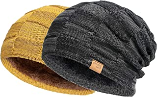 Vgogfly قبعة مترهل للرجال قبعات الشتاء للرجال قبعات صغيرة رائعة للرجال مبطنة محبوكة دافئة سميكة Skully Stocking بيني قبعة