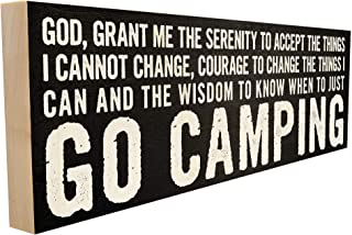 Serenity Prayer - Go Camping. Handmade Custom Wood Block Sign with Funny Saying or Quote. Decorative Gift for Friends and Family. 4 inch x 12 inch. Handcrafted Wooden Wall Art Plaque Home Décor Accent