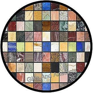 Regalos y Artefacts Multi Semi Piedras Preciosas Incrustadas Mármol Mesa de Café Forma Redonda Cama Mesa Lateral 45 cm